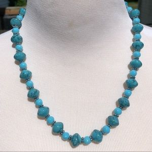 🆕List! Turquoise/Blue Bead Necklace Set! VTG!